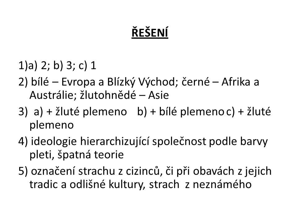 ŘEŠENÍ 1)a) 2; b) 3; c) 1 2) bílé – Evropa a Blízký Východ; černé – Afrika a Austrálie; žlutohnědé – Asie 3) a) + žluté plemenob) + bílé plemenoc) + ž