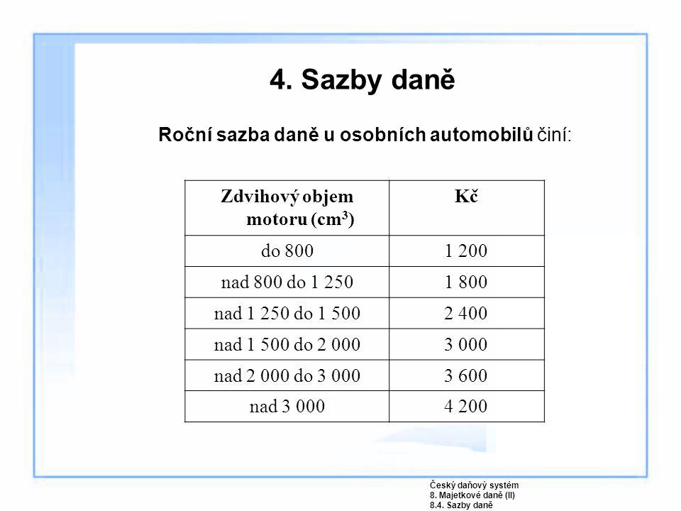 4. Sazby daně Roční sazba daně u osobních automobilů činí: Zdvihový objem motoru (cm 3 ) Kč do 8001 200 nad 800 do 1 2501 800 nad 1 250 do 1 5002 400