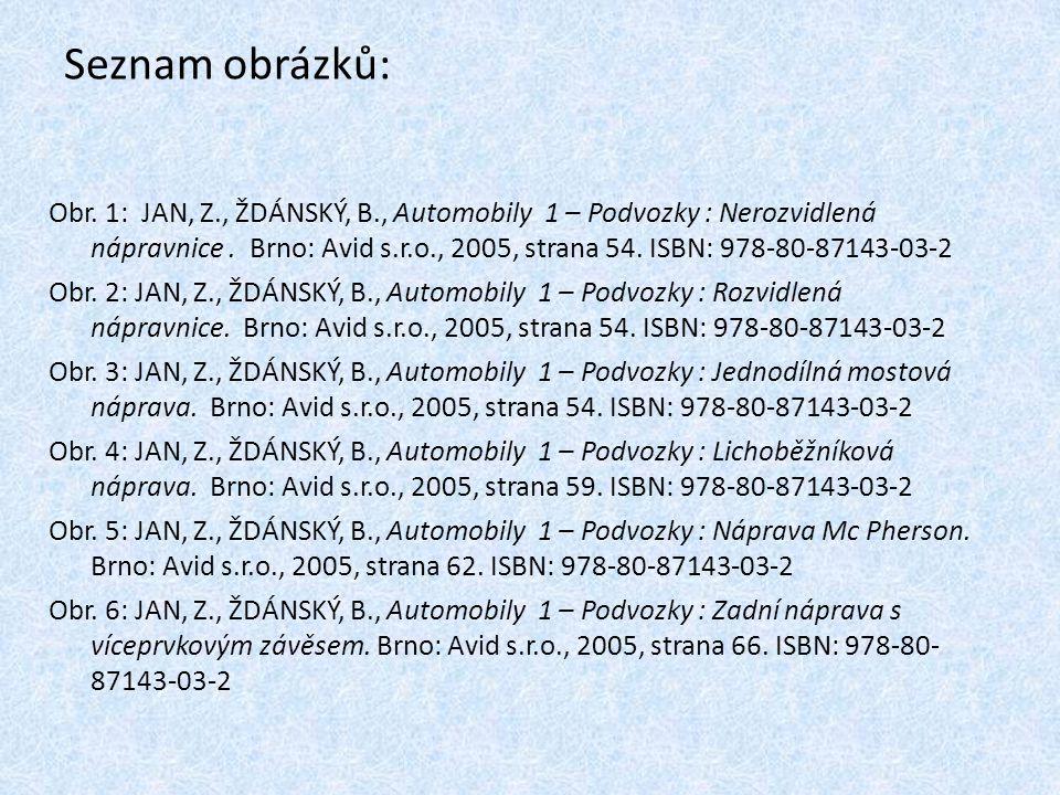 Seznam obrázků: Obr. 1: JAN, Z., ŽDÁNSKÝ, B., Automobily 1 – Podvozky : Nerozvidlená nápravnice. Brno: Avid s.r.o., 2005, strana 54. ISBN: 978-80-8714