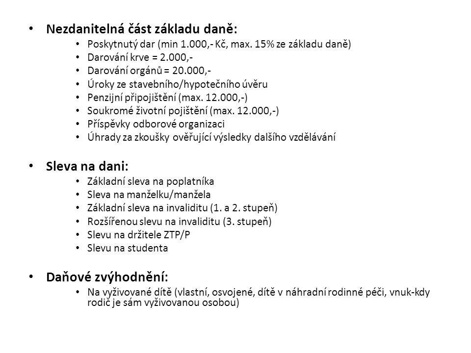 Nezdanitelná část základu daně: Poskytnutý dar (min 1.000,- Kč, max. 15% ze základu daně) Darování krve = 2.000,- Darování orgánů = 20.000,- Úroky ze