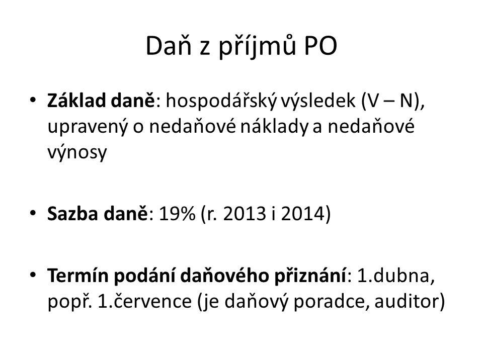 Daň z příjmů PO Základ daně: hospodářský výsledek (V – N), upravený o nedaňové náklady a nedaňové výnosy Sazba daně: 19% (r. 2013 i 2014) Termín podán