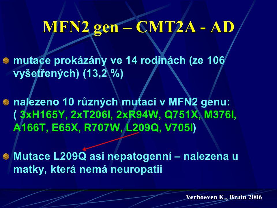 MFN2 gen – CMT2A - AD mutace prokázány ve 14 rodinách (ze 106 vyšetřených) (13,2 %) nalezeno 10 různých mutací v MFN2 genu: ( 3xH165Y, 2xT206I, 2xR94W