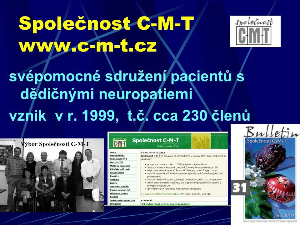 Společnost C-M-T www.c-m-t.cz svépomocné sdružení pacientů s dědičnými neuropatiemi vznik v r. 1999, t.č. cca 230 členů Výbor Společnosti C-M-T