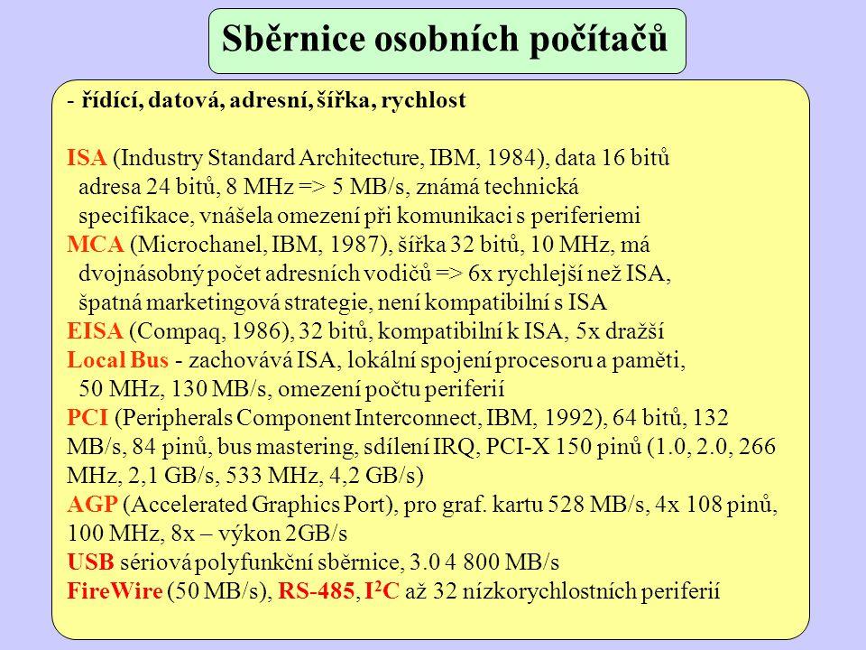 Sběrnice osobních počítačů - řídící, datová, adresní, šířka, rychlost ISA (Industry Standard Architecture, IBM, 1984), data 16 bitů adresa 24 bitů, 8