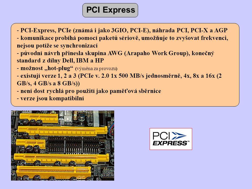 - PCI-Express, PCIe (známá i jako 3GIO, PCI-E), náhrada PCI, PCI-X a AGP - komunikace probíhá pomocí paketů sériově, umožňuje to zvyšovat frekvenci, n