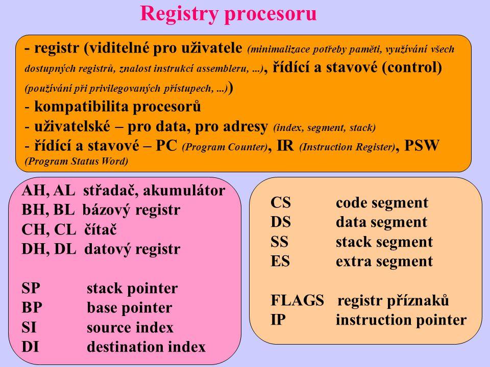 Registry procesoru - registr (viditelné pro uživatele (minimalizace potřeby paměti, využívání všech dostupných registrů, znalost instrukcí assembleru,