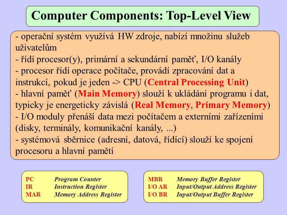 Computer Components: Top-Level View - operační systém využívá HW zdroje, nabízí množinu služeb uživatelům - řídí procesor(y), primární a sekundární pa