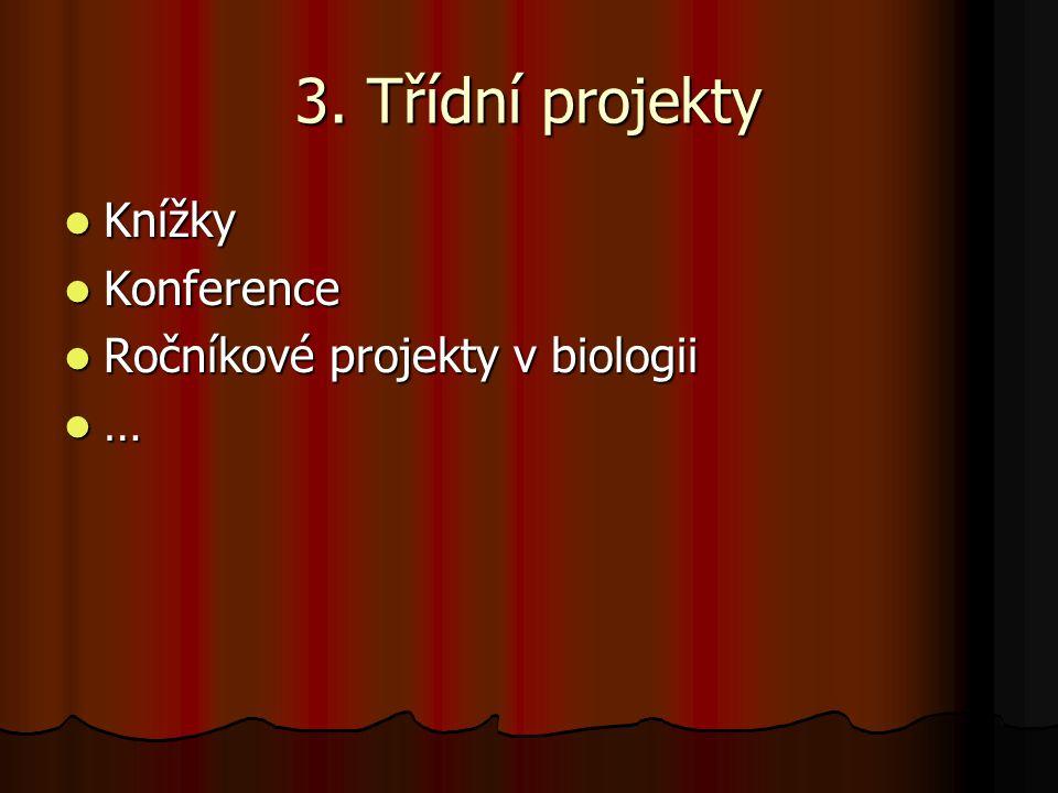 3. Třídní projekty Knížky Knížky Konference Konference Ročníkové projekty v biologii Ročníkové projekty v biologii …
