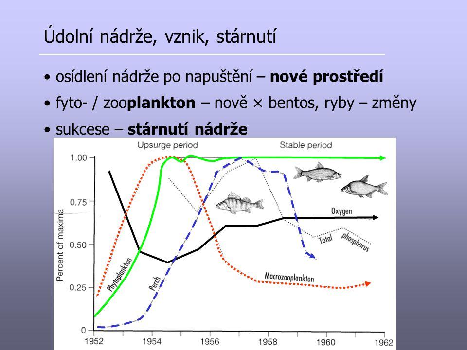 Údolní nádrže, vznik, stárnutí osídlení nádrže po napuštění – nové prostředí fyto- / zooplankton – nově × bentos, ryby – změny sukcese – stárnutí nádr