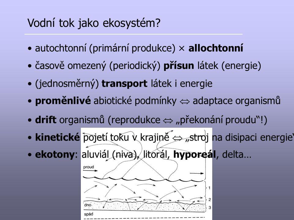 Vodní tok jako ekosystém? autochtonní (primární produkce) × allochtonní časově omezený (periodický) přísun látek (energie) drift organismů (reprodukce