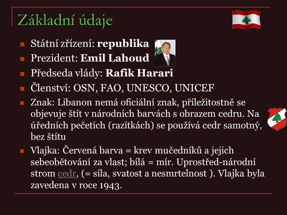 Základní údaje Státní zřízení: republika Prezident: Emil Lahoud Předseda vlády: Rafik Harari Členství: OSN, FAO, UNESCO, UNICEF Znak: Libanon nemá ofi