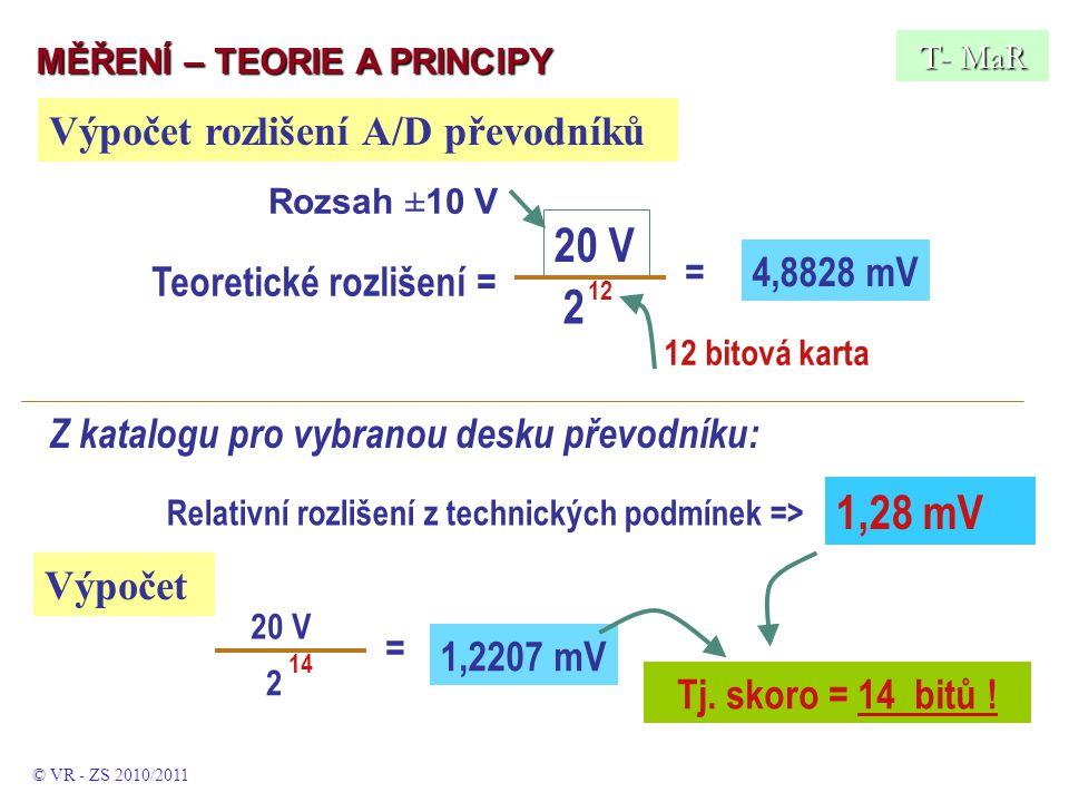 Z katalogu pro vybranou desku převodníku: Relativní rozlišení z technických podmínek => 1,28 mV Tj.