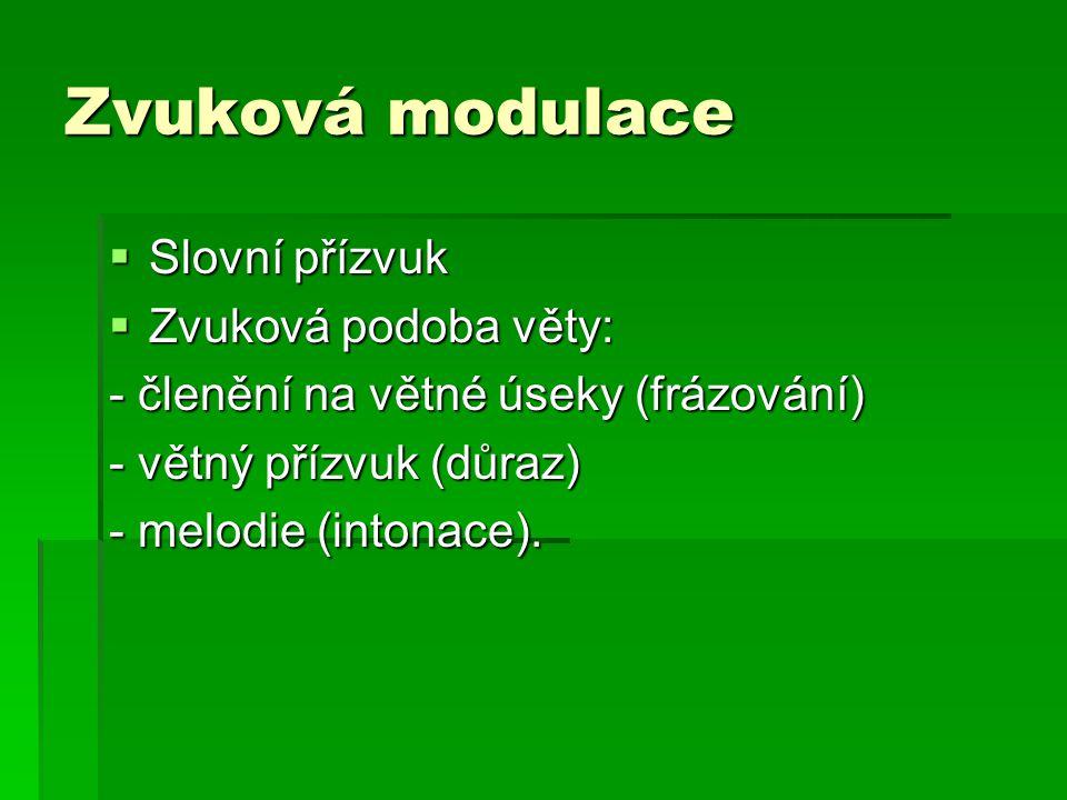 Zvuková modulace  Slovní přízvuk  Zvuková podoba věty: - členění na větné úseky (frázování) - větný přízvuk (důraz) - melodie (intonace).