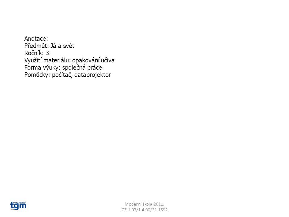 Moderní škola 2011, CZ.1.07/1.4.00/21.1692 Opakujeme světové strany.