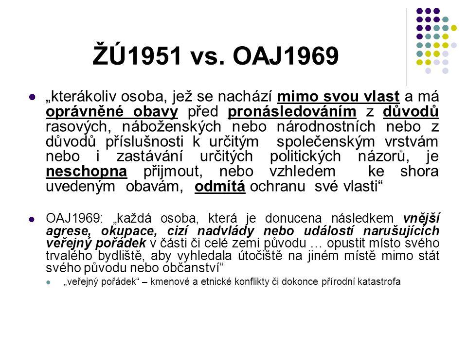 """ŽÚ1951 vs. OAJ1969 """"kterákoliv osoba, jež se nachází mimo svou vlast a má oprávněné obavy před pronásledováním z důvodů rasových, náboženských nebo ná"""