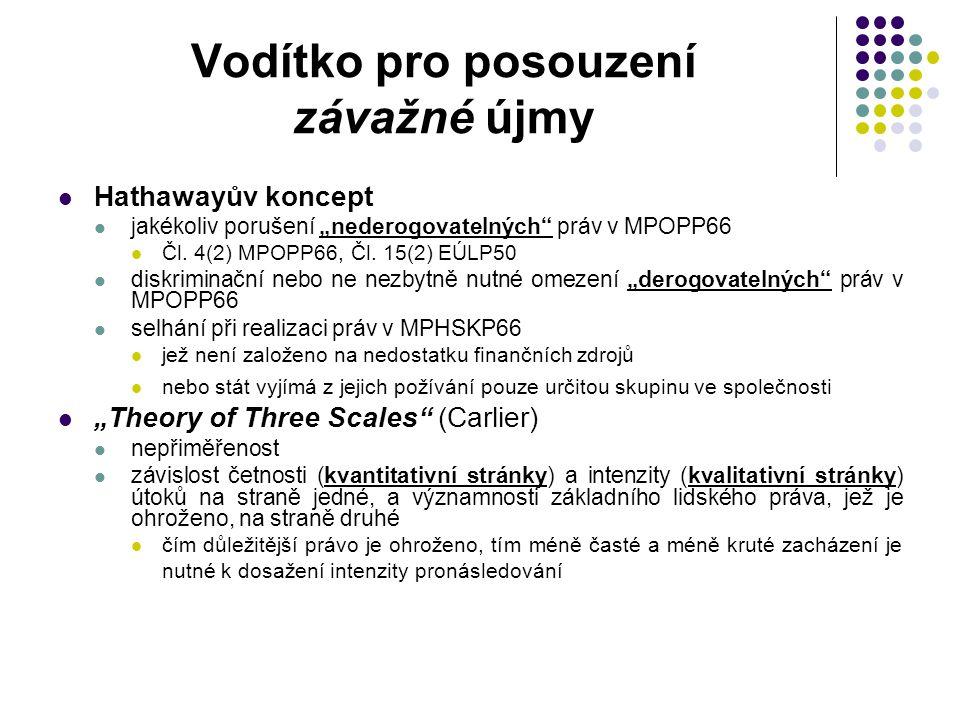 """Vodítko pro posouzení závažné újmy Hathawayův koncept jakékoliv porušení """"nederogovatelných"""" práv v MPOPP66 Čl. 4(2) MPOPP66, Čl. 15(2) EÚLP50 diskrim"""