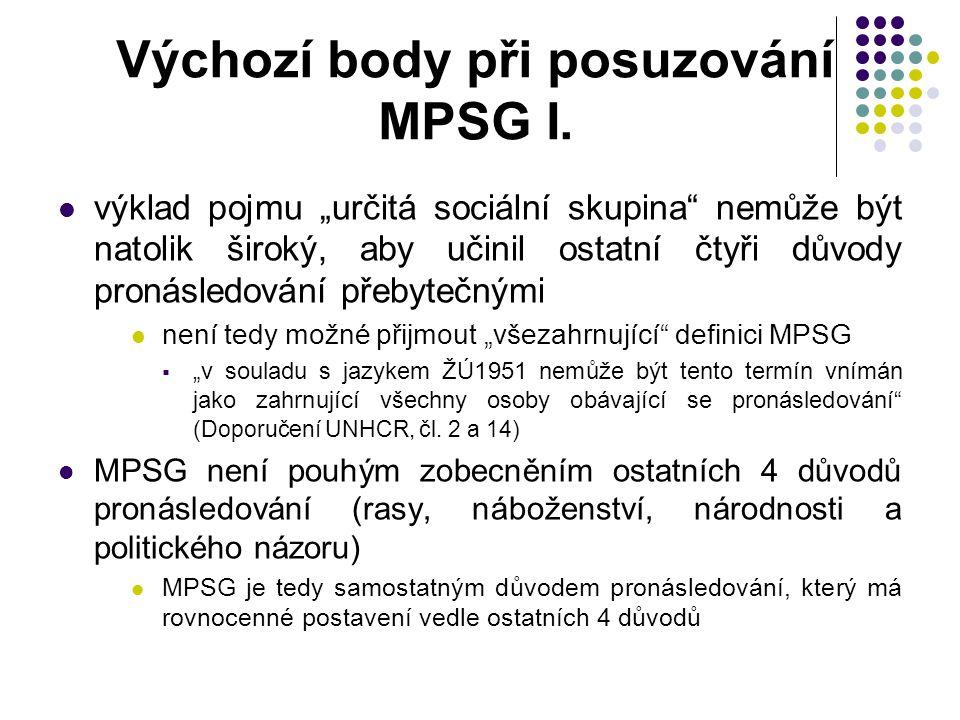 """Výchozí body při posuzování MPSG I. výklad pojmu """"určitá sociální skupina"""" nemůže být natolik široký, aby učinil ostatní čtyři důvody pronásledování p"""