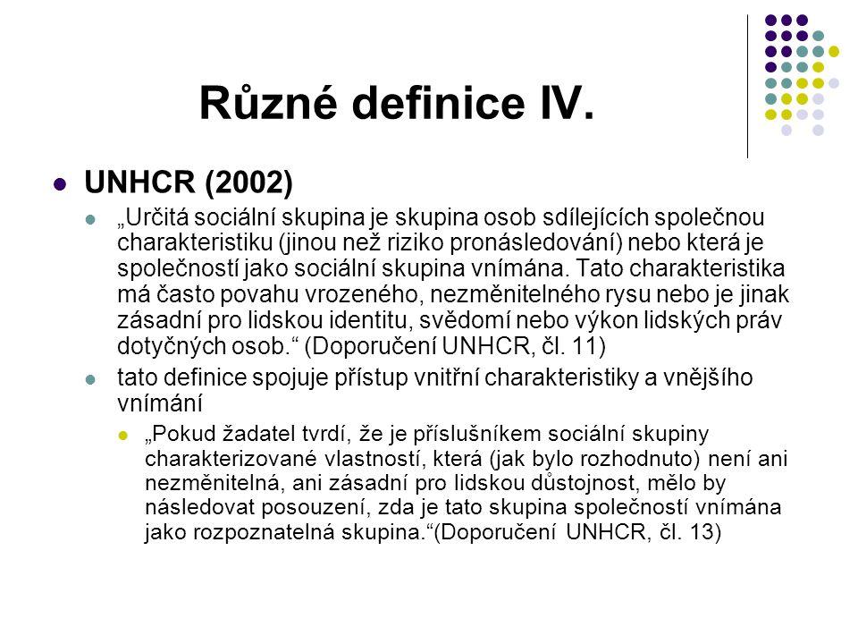 """Různé definice IV. UNHCR (2002) """"Určitá sociální skupina je skupina osob sdílejících společnou charakteristiku (jinou než riziko pronásledování) nebo"""