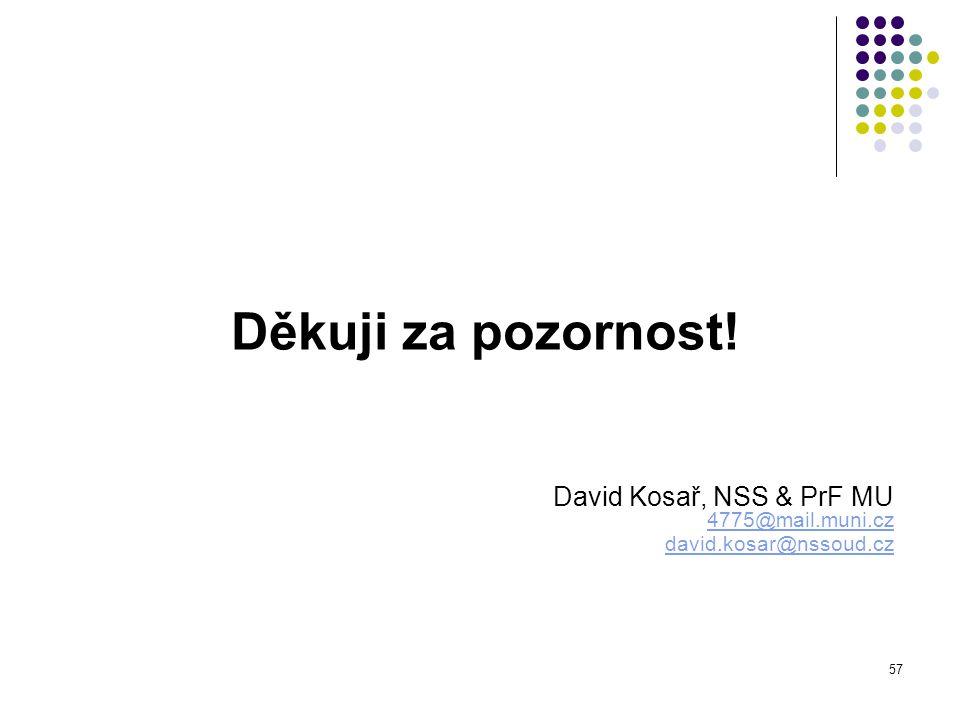 57 Děkuji za pozornost! David Kosař, NSS & PrF MU 4775@mail.muni.cz 4775@mail.muni.cz david.kosar@nssoud.cz