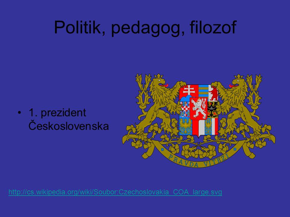 Politik, pedagog, filozof 1. prezident Československa http://cs.wikipedia.org/wiki/Soubor:Czechoslovakia_COA_large.svg