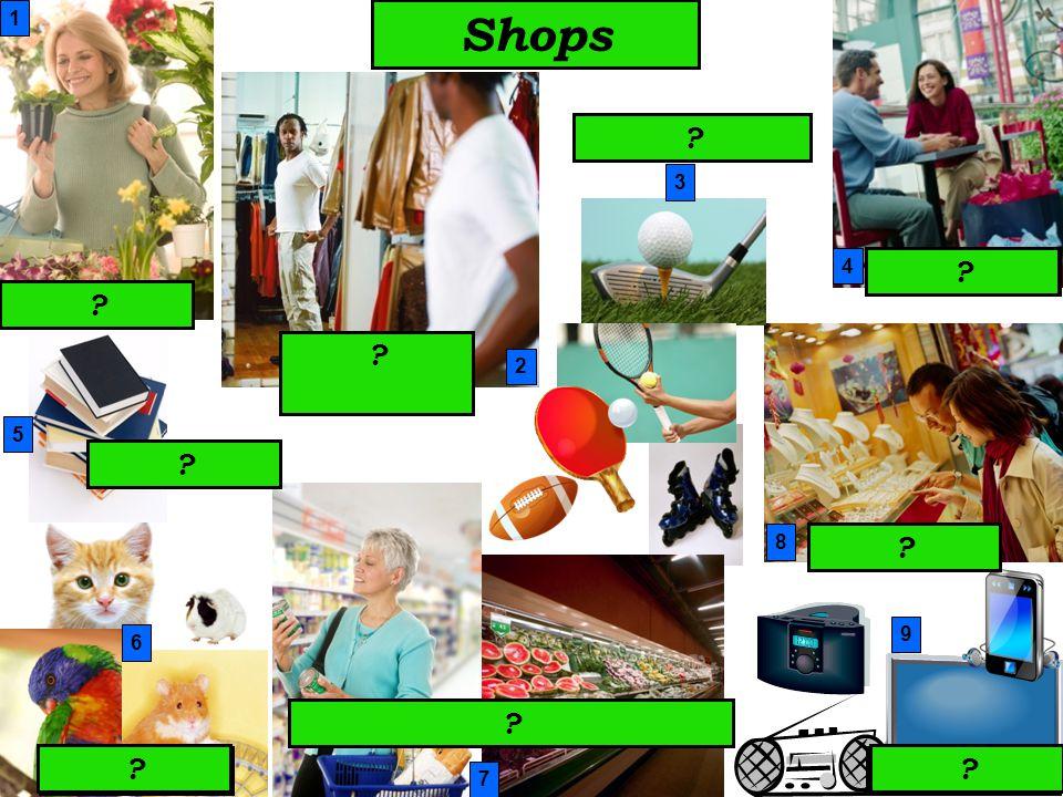 Shops 2 3 4 7 8 1 9 perfumes toy shop shoe shop post officemusic shopchildren´s corner hairdresser´s chemist´s newsagent´s 6 5 .