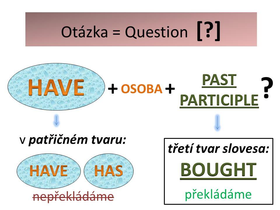 + OSOBA ? v patřičném tvaru: nepřekládáme Otázka = Question [?] +