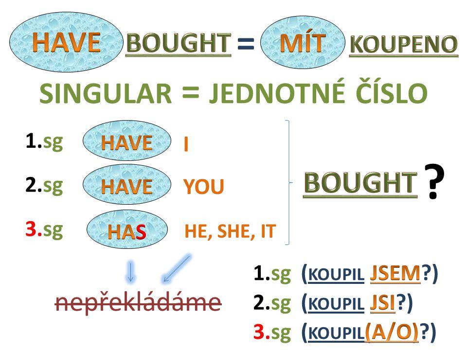 I HE, SHE, IT YOU 2.sg nepřekládáme 1.sg 3.sg 1.sg 3.sg 2.sg = SINGULAR = JEDNOTNÉ ČÍSLO