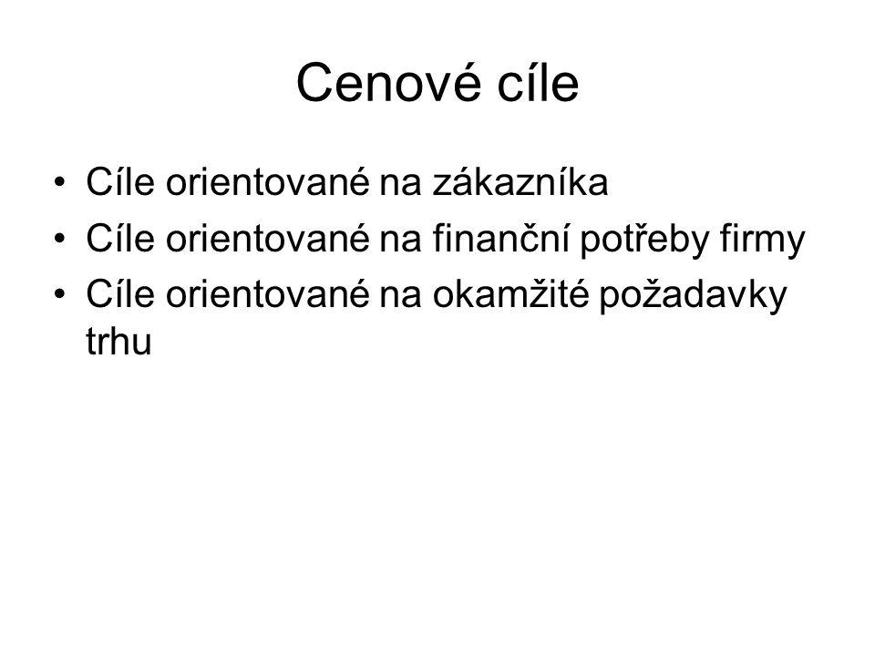 Cenové cíle Cíle orientované na zákazníka Cíle orientované na finanční potřeby firmy Cíle orientované na okamžité požadavky trhu