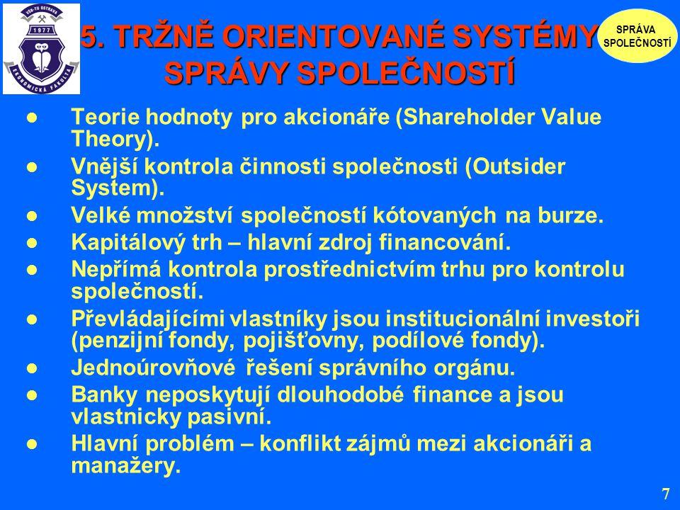 5. TRŽNĚ ORIENTOVANÉ SYSTÉMY SPRÁVY SPOLEČNOSTÍ Teorie hodnoty pro akcionáře (Shareholder Value Theory). Vnější kontrola činnosti společnosti (Outside