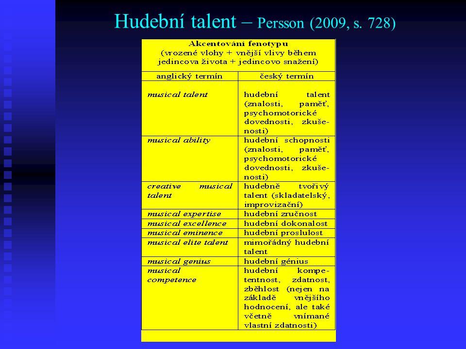 Hudební talent – Persson (2009, s. 728)