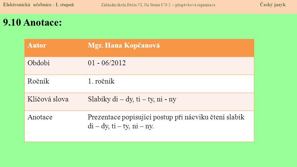 7.10 Anotace: Elektronická učebnice - I.