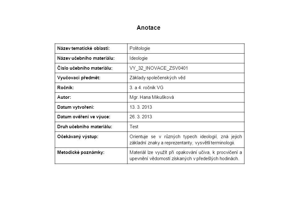 Anotace Název tematické oblasti: Politologie Název učebního materiálu: Ideologie Číslo učebního materiálu: VY_32_INOVACE_ZSV0401 Vyučovací předmět: Zá