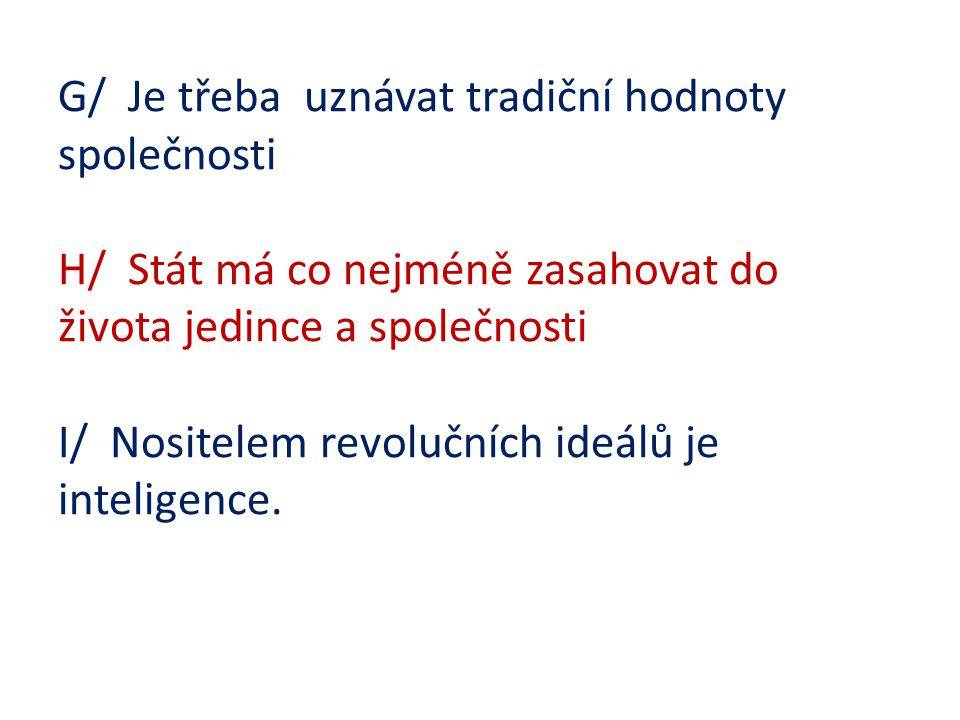 G/ Je třeba uznávat tradiční hodnoty společnosti H/ Stát má co nejméně zasahovat do života jedince a společnosti I/ Nositelem revolučních ideálů je in