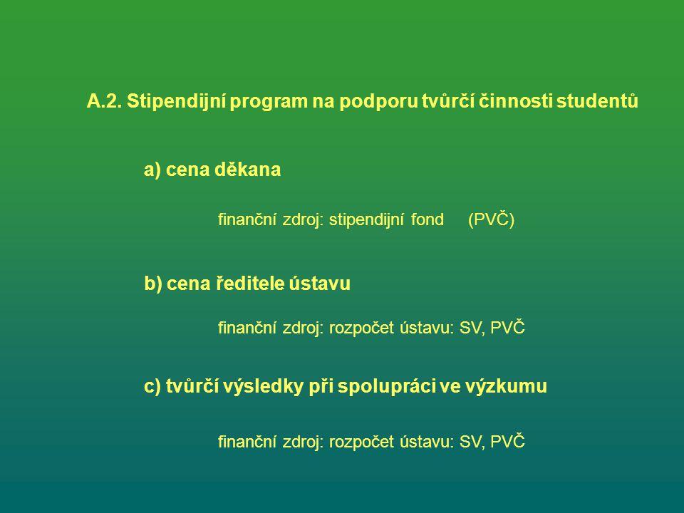 A.2. Stipendijní program na podporu tvůrčí činnosti studentů a) cena děkana b) cena ředitele ústavu finanční zdroj: stipendijní fond (PVČ) finanční zd