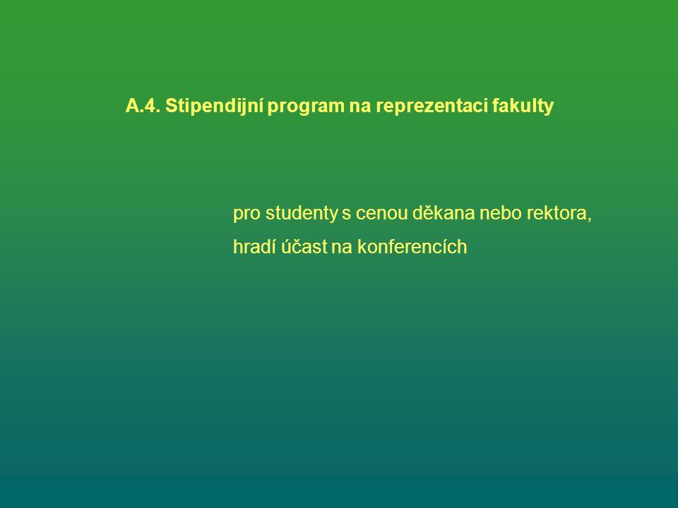 A.4. Stipendijní program na reprezentaci fakulty pro studenty s cenou děkana nebo rektora, hradí účast na konferencích