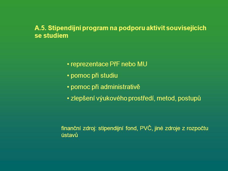 A.5. Stipendijní program na podporu aktivit souvisejících se studiem reprezentace PřF nebo MU pomoc při studiu pomoc při administrativě zlepšení výuko