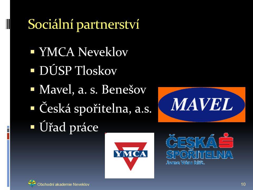 Sociální partnerství  YMCA Neveklov  DÚSP Tloskov  Mavel, a.