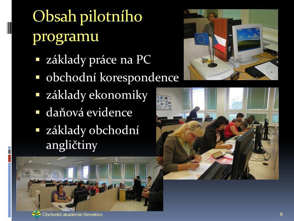 Obsah pilotního programu  základy práce na PC  obchodní korespondence  základy ekonomiky  daňová evidence  základy obchodní angličtiny 9 Obchodní akademie Neveklov