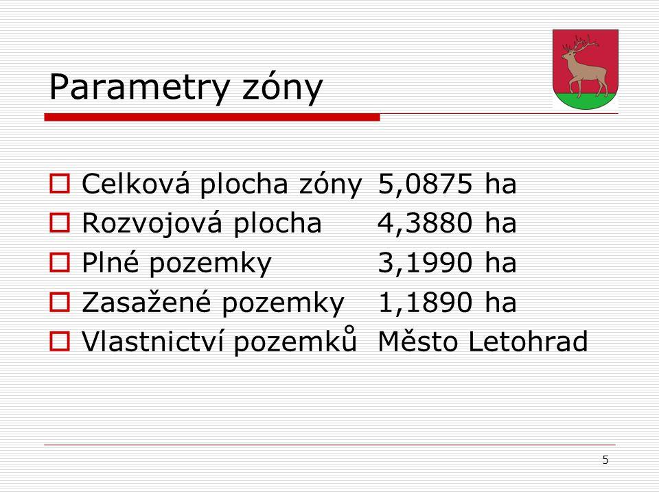 5 Parametry zóny  Celková plocha zóny 5,0875 ha  Rozvojová plocha4,3880 ha  Plné pozemky3,1990 ha  Zasažené pozemky1,1890 ha  Vlastnictví pozemků