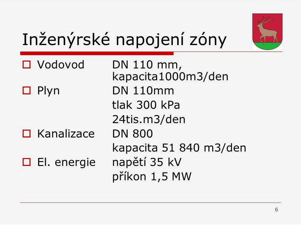 6 Inženýrské napojení zóny  Vodovod DN 110 mm, kapacita1000m3/den  Plyn DN 110mm tlak 300 kPa 24tis.m3/den  Kanalizace DN 800 kapacita 51 840 m3/de