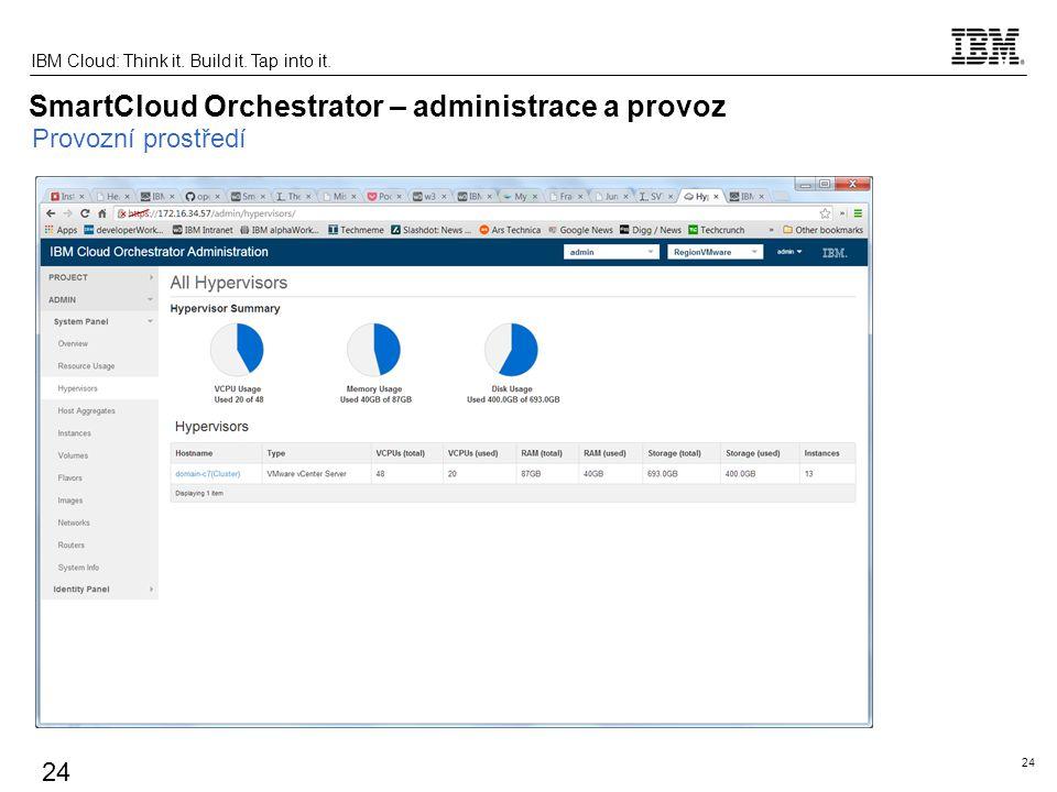 24 IBM Cloud: Think it. Build it. Tap into it. 24 SmartCloud Orchestrator – administrace a provoz Provozní prostředí