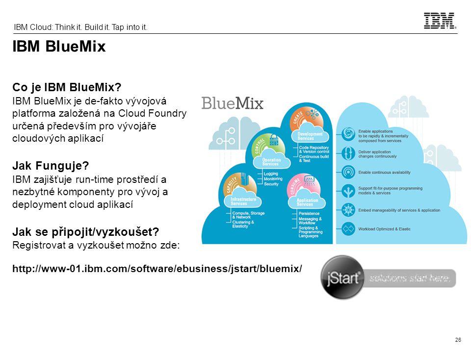 26 IBM Cloud: Think it.Build it. Tap into it.