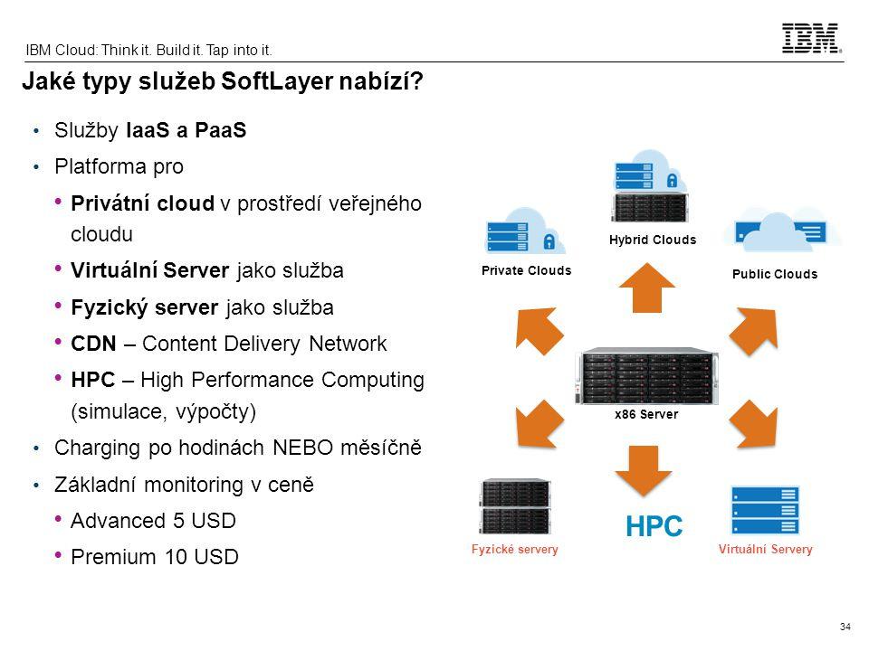 34 IBM Cloud: Think it. Build it. Tap into it. Jaké typy služeb SoftLayer nabízí? Služby IaaS a PaaS Platforma pro Privátní cloud v prostředí veřejnéh