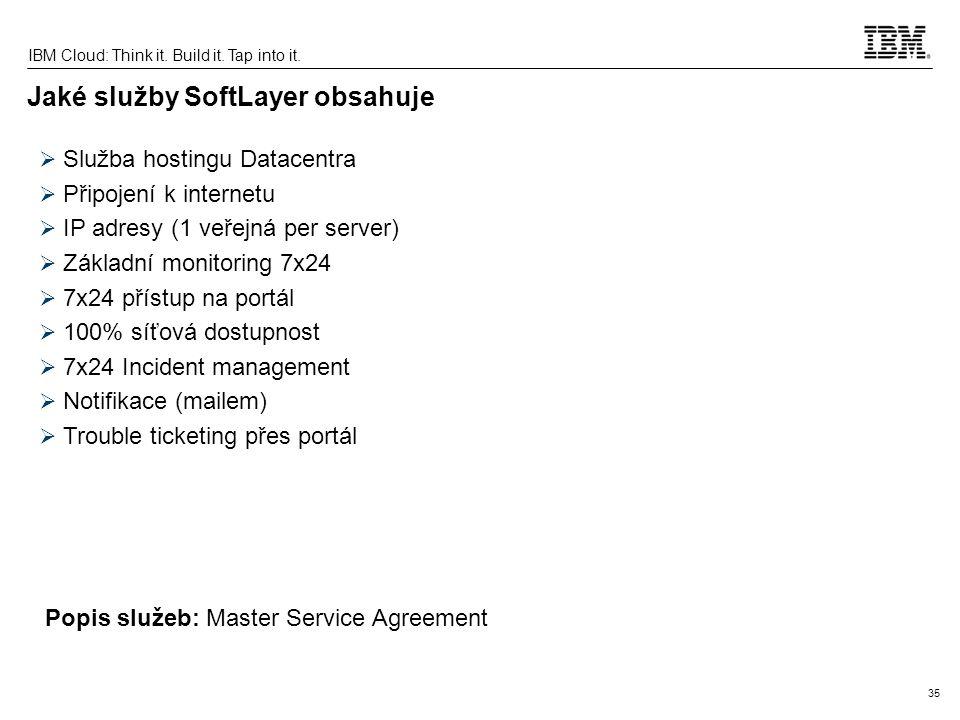 35 IBM Cloud: Think it. Build it. Tap into it. Jaké služby SoftLayer obsahuje  Služba hostingu Datacentra  Připojení k internetu  IP adresy (1 veře