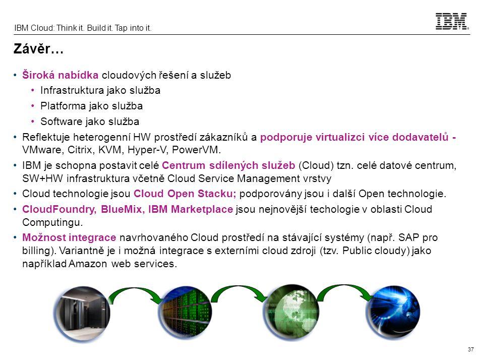 37 IBM Cloud: Think it. Build it. Tap into it. Závěr… Široká nabídka cloudových řešení a služeb Infrastruktura jako služba Platforma jako služba Softw