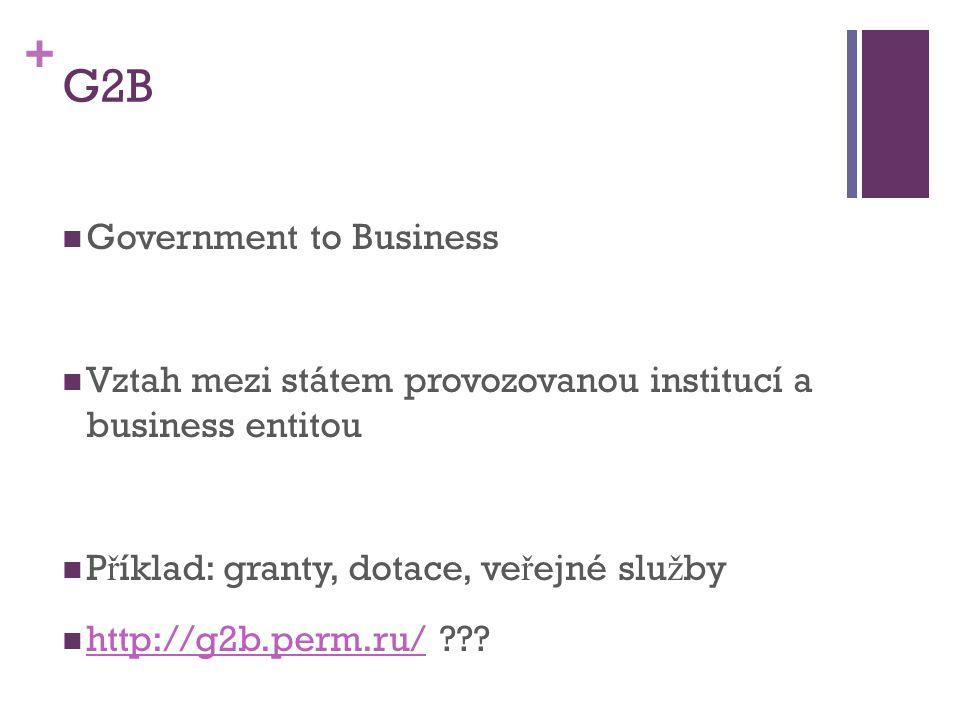 + G2B Government to Business Vztah mezi státem provozovanou institucí a business entitou P ř íklad: granty, dotace, ve ř ejné slu ž by http://g2b.perm.ru/ .