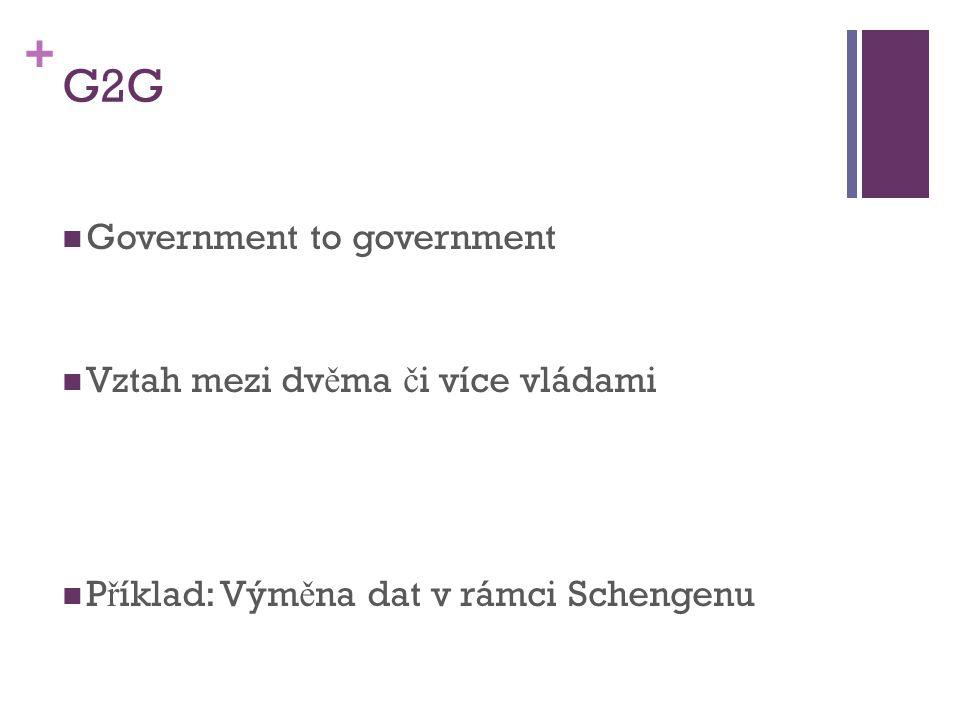 + G2G Government to government Vztah mezi dv ě ma č i více vládami P ř íklad: Vým ě na dat v rámci Schengenu