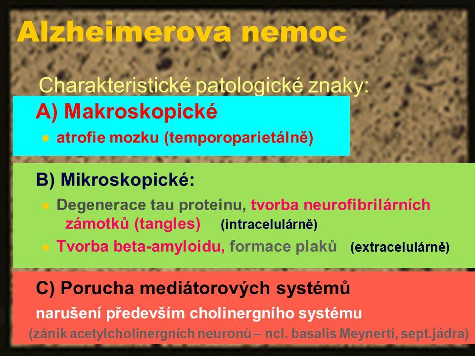 Charakteristické patologické znaky: B) Mikroskopické: Degenerace tau proteinu, tvorba neurofibrilárních zámotků (tangles) (intracelulárně) Tvorba beta