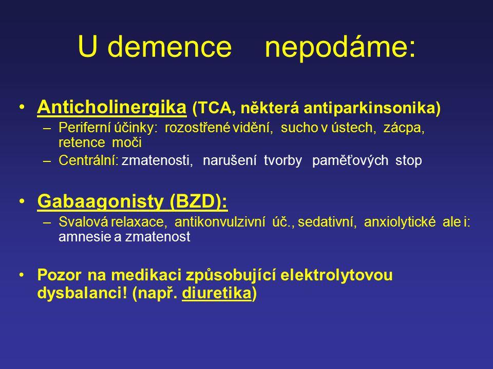 U demence nepodáme: Anticholinergika (TCA, některá antiparkinsonika) –Periferní účinky: rozostřené vidění, sucho v ústech, zácpa, retence moči –Centrá