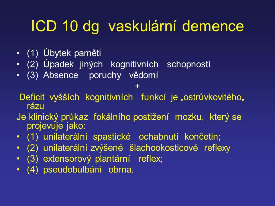 ICD 10 dg vaskulární demence (1) Úbytek paměti (2) Úpadek jiných kognitivních schopností (3) Absence poruchy vědomí + Deficit vyšších kognitivních fun